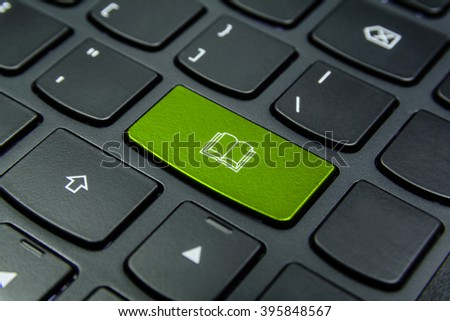 Close-up the Book symbol on the keyboard button and have Lime color button isolate black keyboard