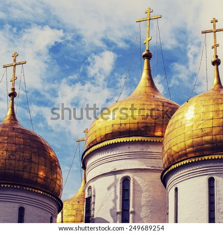 Close up.The Cathedral of the Annunciation in Kremlin, Moscow, Russia : Filtered image:cross processed vintage effect - stock photo