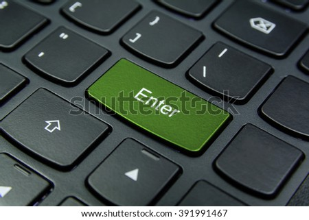Close-up the Enter button and have Pea color isolate black keyboard
