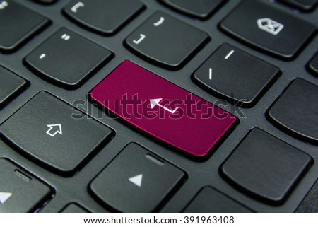 Close-up the Enter symbol and have Magenta color button isolate black keyboard