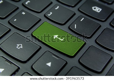 Close-up the Enter symbol and have Pea color button isolate black keyboard