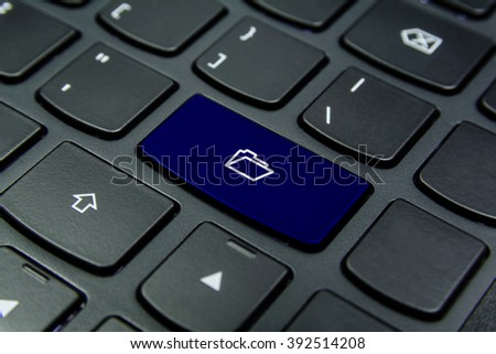 Close-up the Folder symbol on the keyboard button and have Navy Blue color button isolate black keyboard