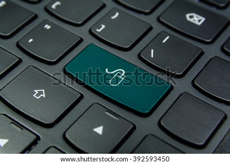 Close-up the Mouse symbol on the keyboard button and have Teal color button isolate black keyboard