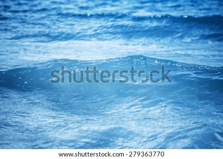 close up the sea water surface , selective focus