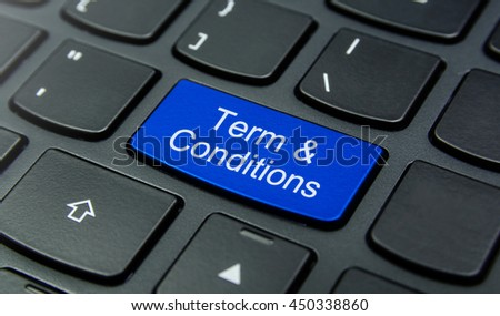 Close-up the Term & Condition button on the keyboard and have Blue color button isolate black keyboard