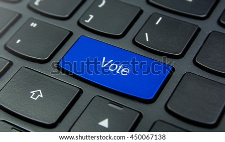 Close-up the Vote button on the keyboard and have Blue color button isolate black keyboard