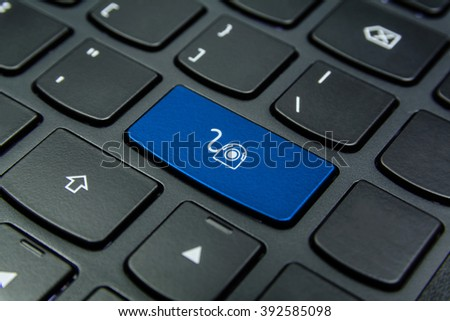 Close-up the Webcam symbol on the keyboard button and have Azure color button isolate black keyboard