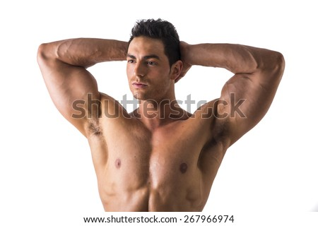 Close up Thoughtful Handsome Shirtless Muscular Man Showing Bulging Biceps Looking to the Left with Both Hands Behind his Head, Isolated on a White Background. - stock photo