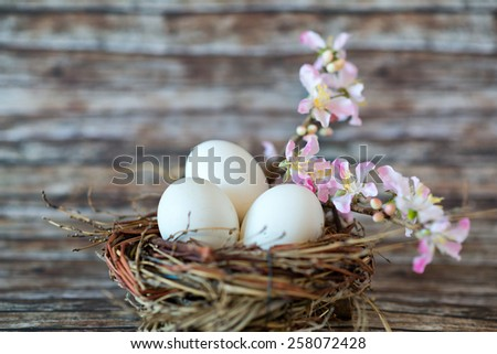 Close up Three White Chicken Eggs in a Nest, with Small Lovely Flowers on a Stem, Placed on Top of the Table with Fuzzy Background. - stock photo