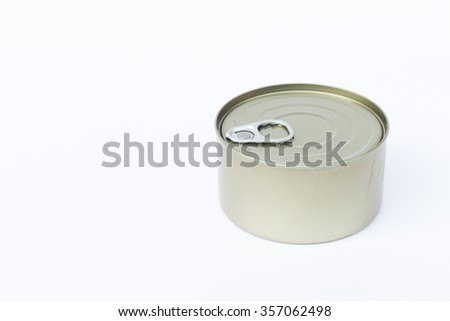Close-up tin can isolated on white background, stock photo - stock photo