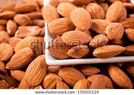 Close up to almonds in white cup - stock photo