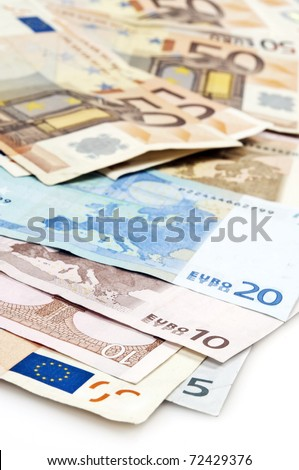 Close up to euro banknotes - stock photo