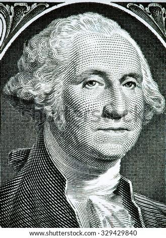 Close up to George Washington portrait on one dollar bill. Toned. - stock photo
