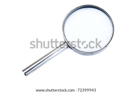 Close-up to magnifying glass on white background - stock photo