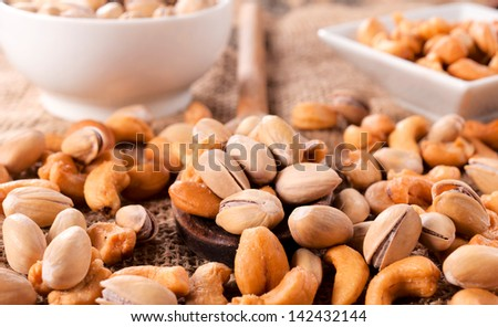 Close up to nuts mix