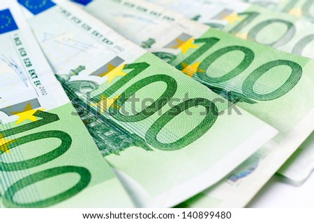Close up to one hundred euro bills