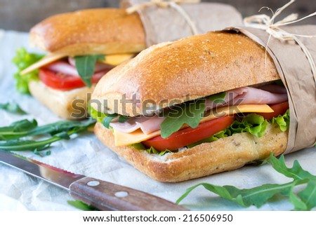 Close up to panini sandwich stuffed with hamd and cheese,selective focus - stock photo