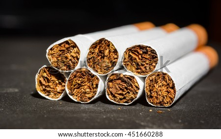 Close up Tobacco Cigarettes marco detail - stock photo