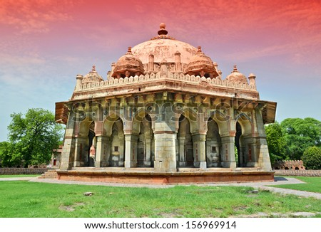 close up tomb of Isa Khan Niazi in humayum tomb complex, New Delhi, India - stock photo