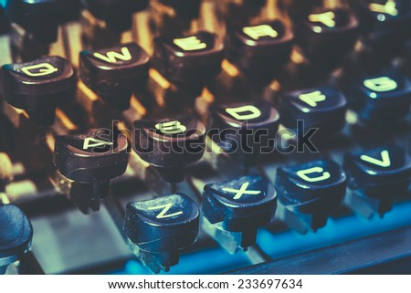Close Up Toned Photo Of Antique Typewriter Keys. Old Manual Retro Keys, Vintage Keyboard. - stock photo