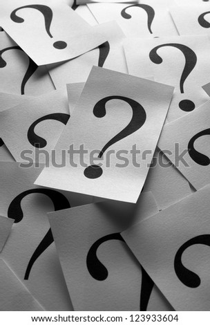 Close up too many question marks background - stock photo