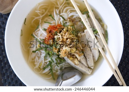 close up top of big bowl pho noodle - stock photo