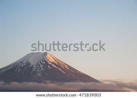 Close up top of Mount Fujisan with cloudy on sky, Japan