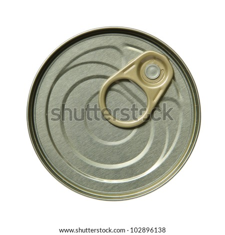 Close up top side of tin can on white background. - stock photo