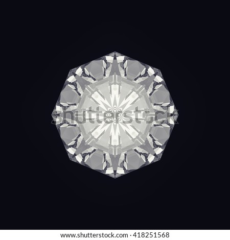 Close up / Top View of a diamond isolated on black background. 3D Render - stock photo