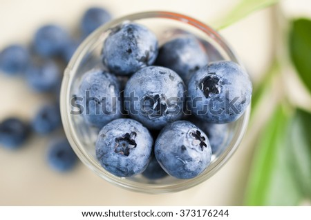 Close up Top view of blue berries  - stock photo