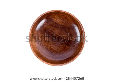Close up top view of wooden empty bowl, isolated on white background. - stock photo