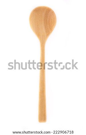 Close-up top view of wooden spoon isolated on white background.