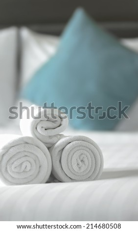 close up towels on the bed - stock photo
