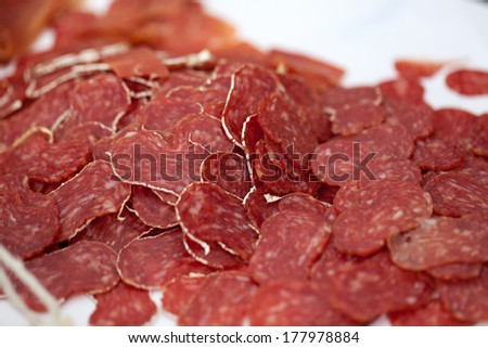 Close-up traditional sliced meat sausage salami - stock photo