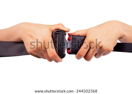 close up two hand use safety belt on white background  - stock photo