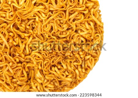 Close - up uncooked instant noodle isolated on a white background