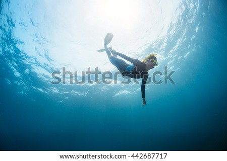 Close up underwater shot of the lady free diver
