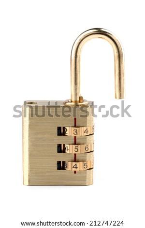 Close-up unlocked combination padlock - stock photo