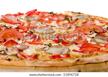 Close up up of fresh hot pizza - stock photo