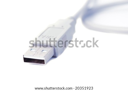 close-up usb connector isolated on white