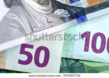 Close up USD and EUR, Dollar and Euro currency note  - stock photo