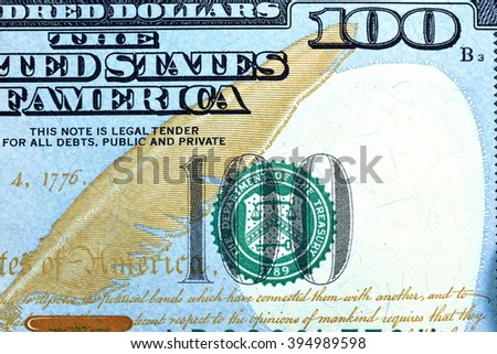 Close up USD, Dollar note