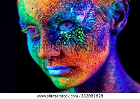 close up UV portrait  - stock photo