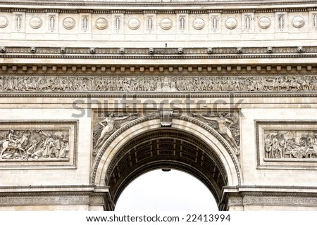 Close-up view from below of Arc de Triomphe stone decorations