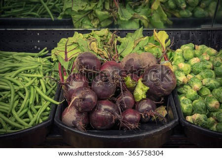 Close-up view group of fresh, organic Red beets in a supermarket at Colfax, Whitman County, Washington, USA.