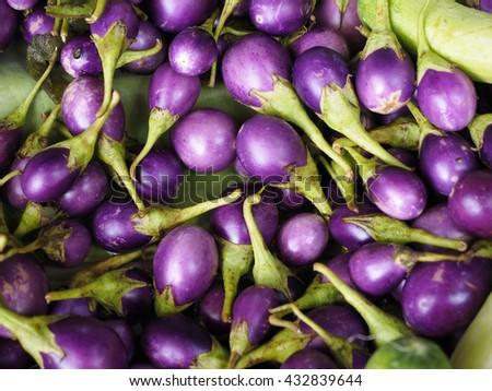 Close-up view group of many eggplants. Colorful eggplants. Eggplant texture. Pile of eggplants at Indian market. Purple eggplants. Eggplants wallpaper. Eggplants with green leafs.Group of eggplants. - stock photo