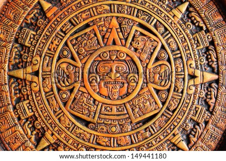 Close up view of a Aztec Calendar - stock photo