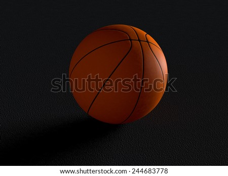 close-up view of a basketball ball on dark background (3d render) - stock photo
