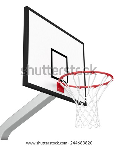 close-up view of a basketball hoop on white background (3d render) - stock photo