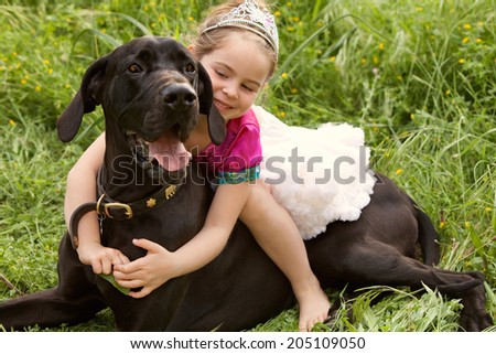 Close up view of a beautiful young girl riding her grate dane pedigree pet dog while dressing up as a princess during a summer day in a green field, outdoors. Animal friendship fun and love lifestyle. - stock photo